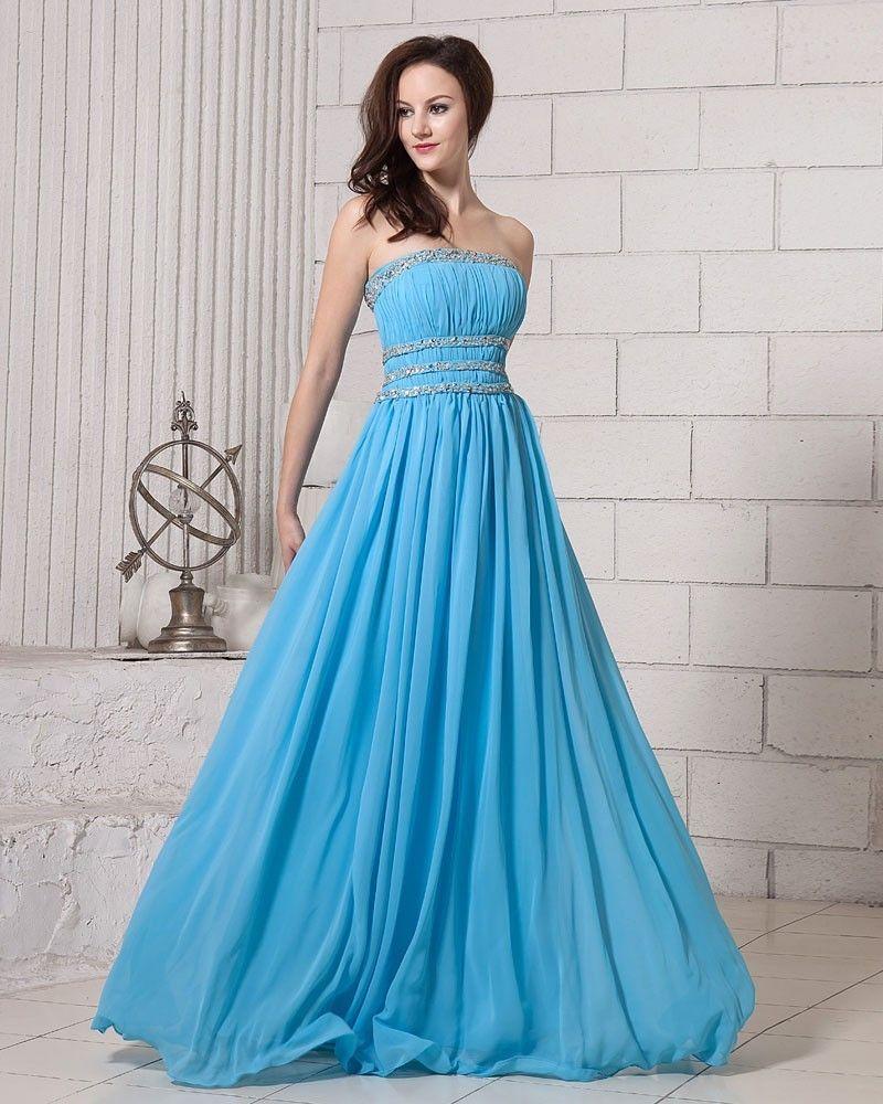 Elegant Solid Ruffle Beading Strapless Chiffon Women Evening Dresses ...
