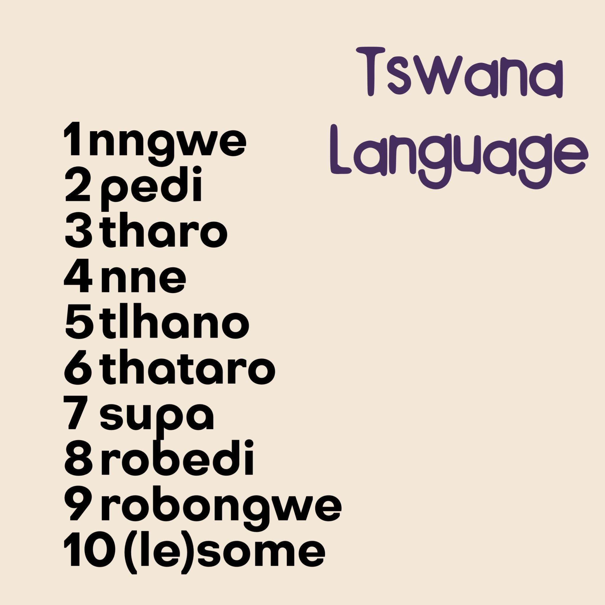 Counting In Tswana Setswana A Bantu Language Spoken In