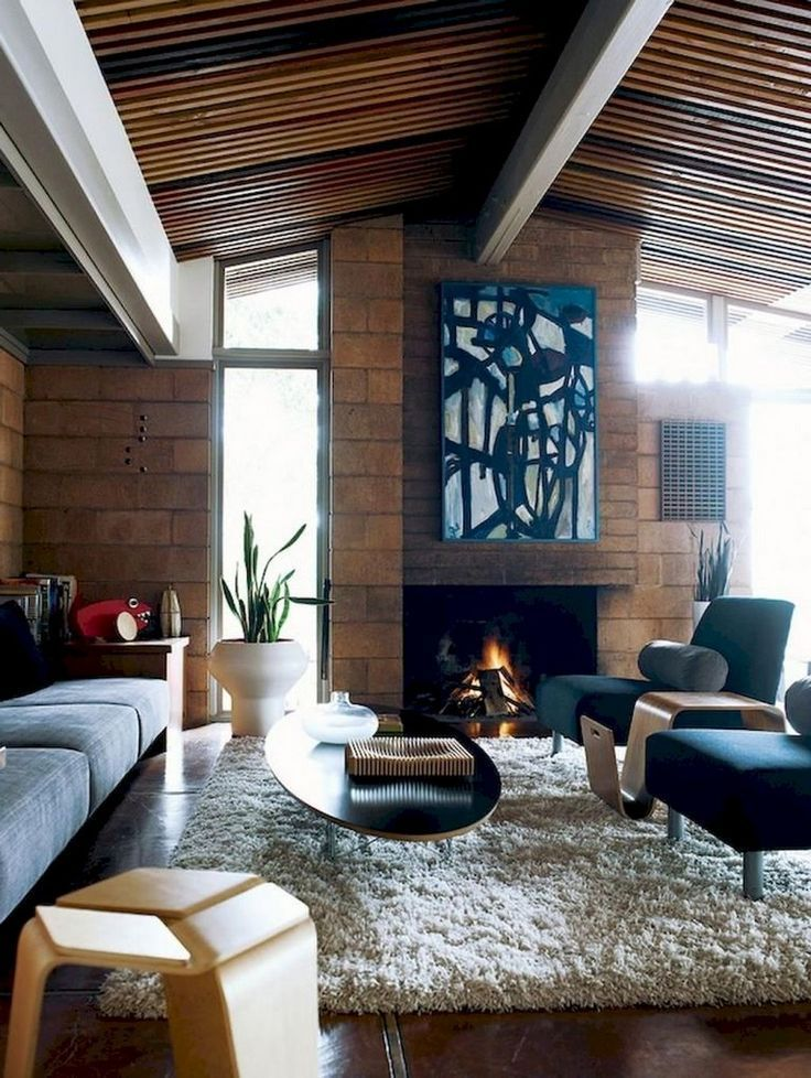 53 stunning vintage mid century living room decor ideas
