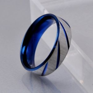 mens blue silver brushed stainless steel wedding band ring 7mm size 8