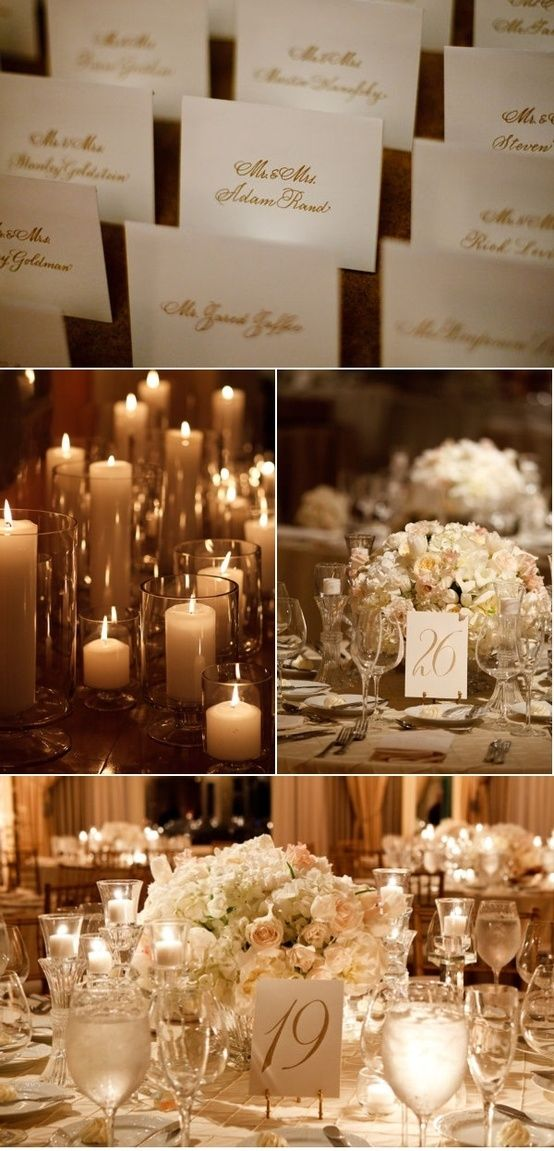 White With Hints Of Gold Wedding Decor