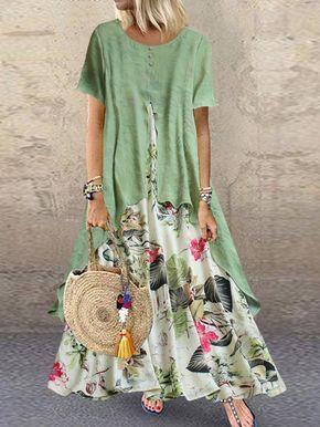 Vintage Print Patchwork Summer Plus Size Maxi Dress with Pockets 3