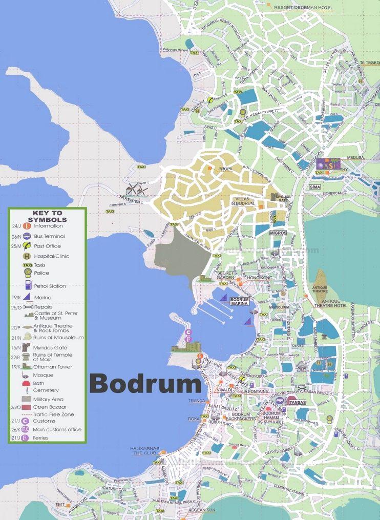 Bodrum sightseeing map Maps Pinterest Bodrum