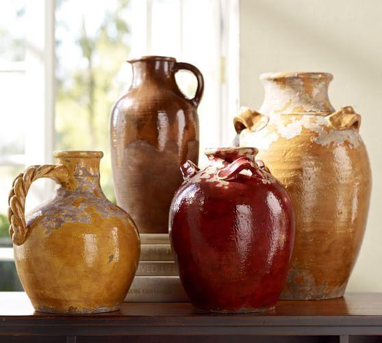 Sicily Terra Cotta Vases Rustic Italian Decor Italian