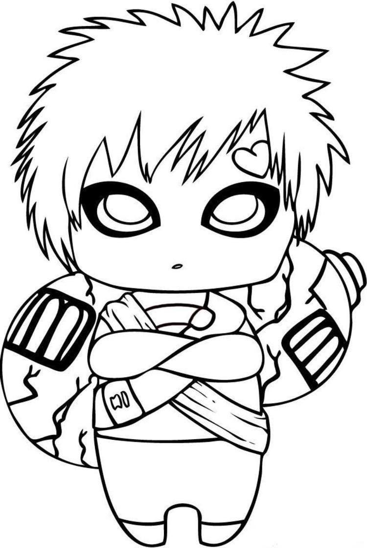 Naruto Coloring Pages Gaara Chibi Naruto drawings, Anime