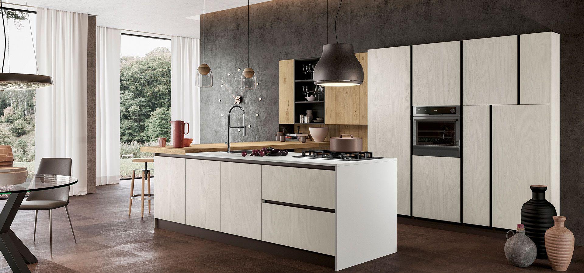 Cucina Componibile Moderna in Rovere Impiallacciato - Asia - Arredo3 ...