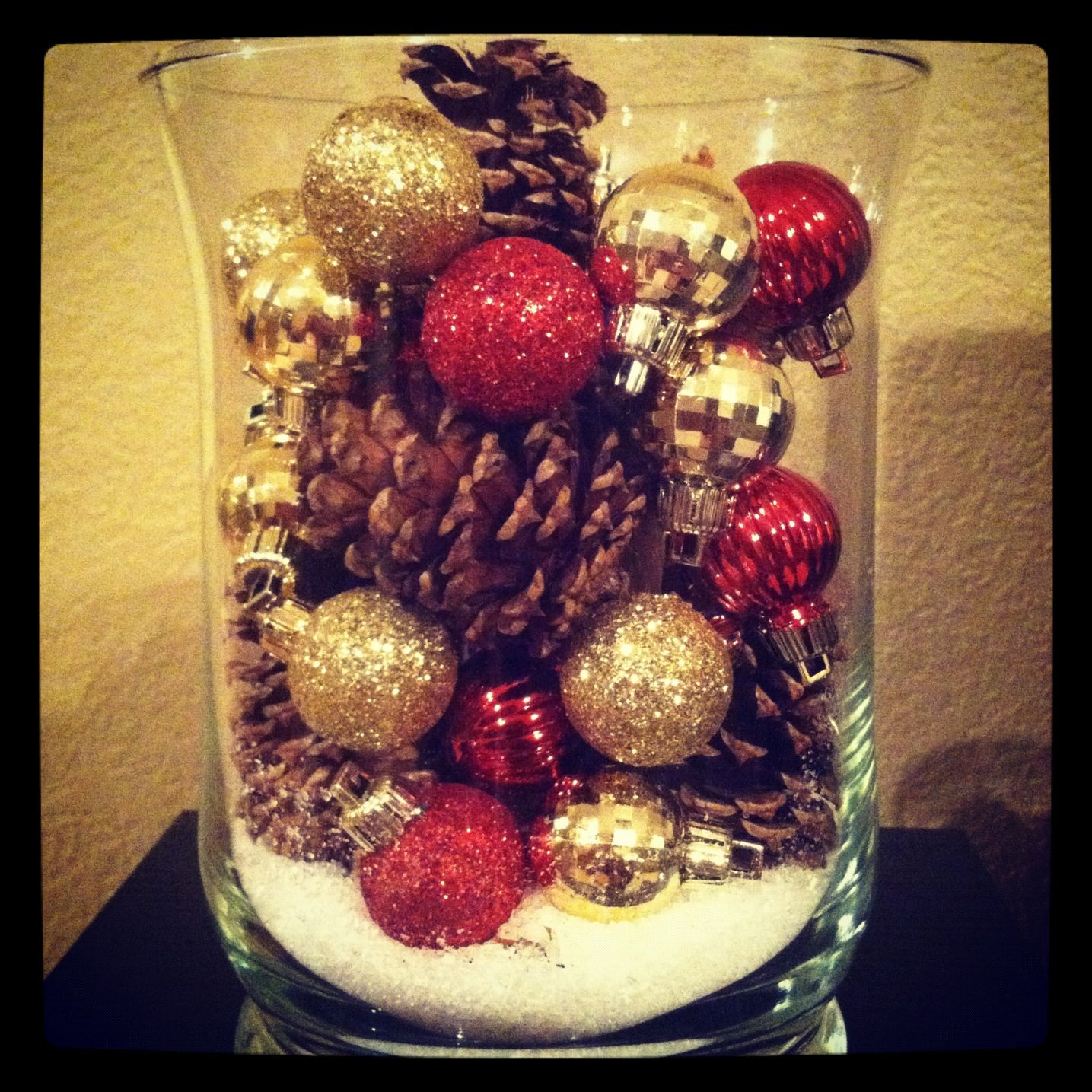 Pine Cone Ornament And Epsom Salt Vase Christmas Hurricanes