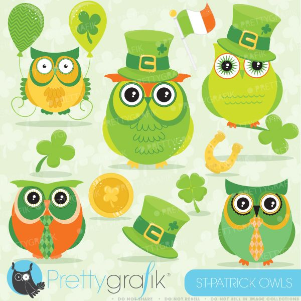 St. Patrick's day Owls Clipart - great for your St. Patrick's Day ...