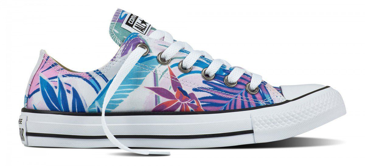 bb48ea098c1 Converse Chuck Taylor All Star Low Top Tropical Print Fresh Cyan Magenta  Glow White