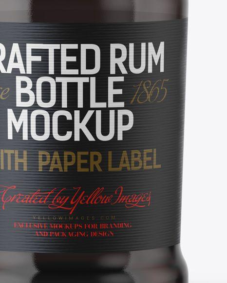 Black Rum Bottle Mockup (Close-Up)