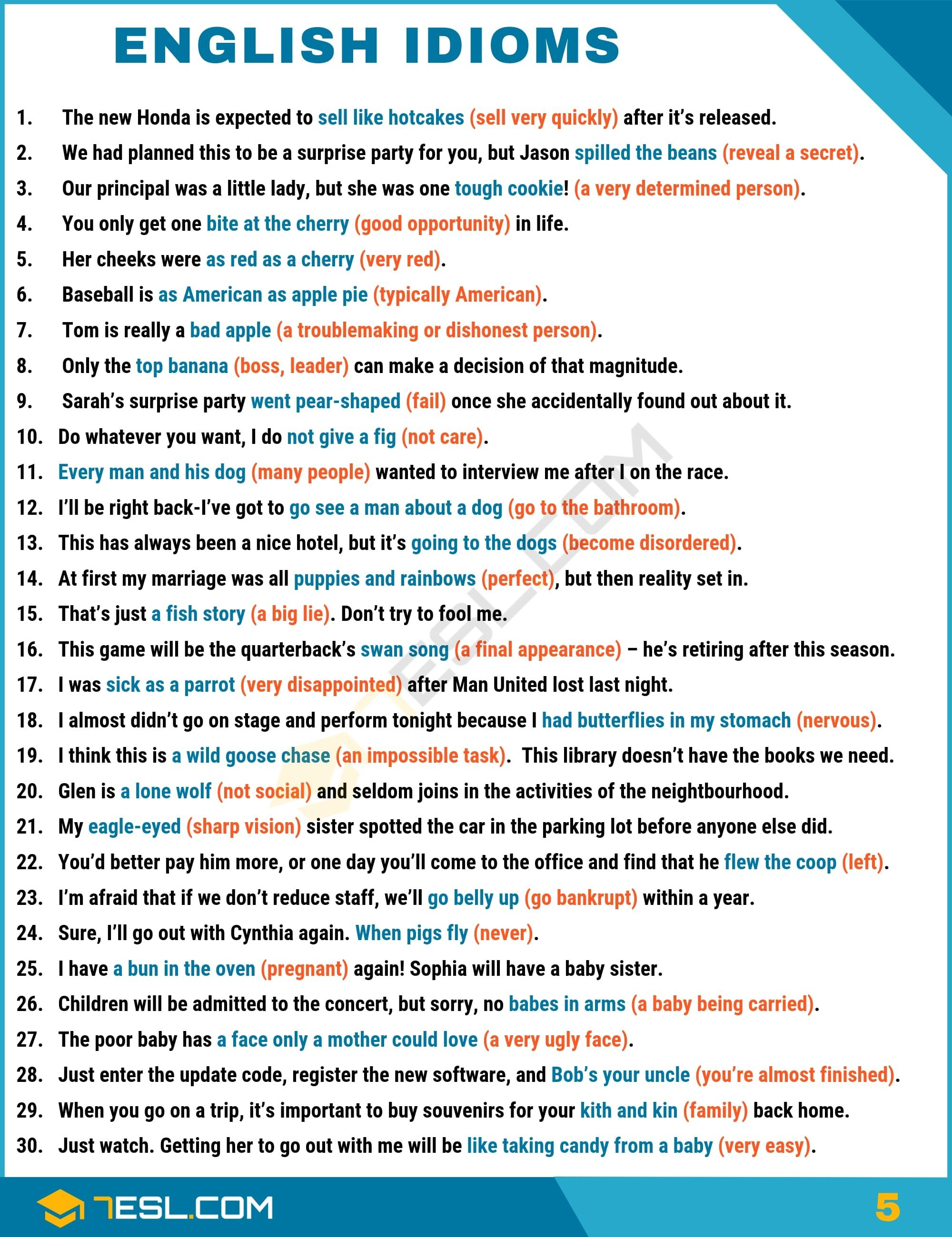 Idiom English Idioms From A Z With Useful Examples