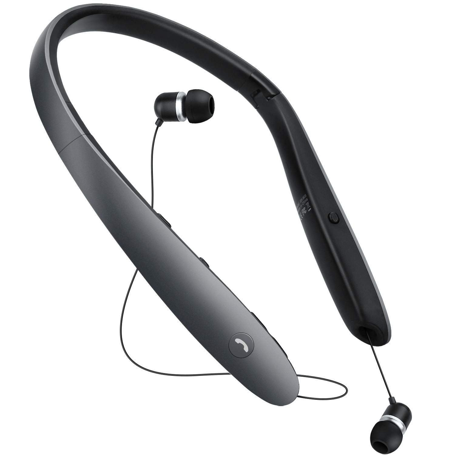a9321ecdf10 Bluetooth Headphones Retractable Earbuds Neckband Foldable Neck Wireless  Bluetooth Headset Sweatproof Sports Noise Cancelling Microphone HD Stereo  Voice ...