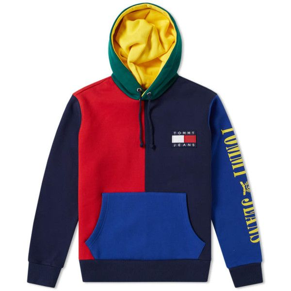 64cb1383b Tommy Jeans 90s Colour Block Hoody ($169) ❤ liked on Polyvore featuring  tops, hoodies, color block hoodies, tommy hilfiger, color block hooded  sweatshirt, ...