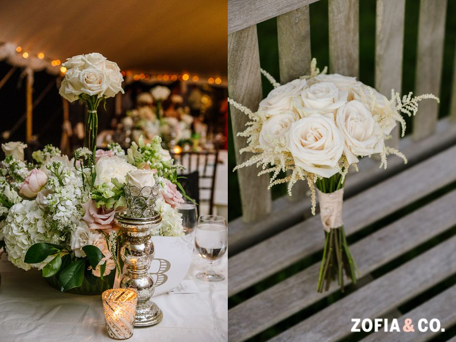 Lush centerpieces and #ivory roses, #nantucket #wedding, Zofia & Co. Photography
