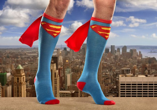 It's a bird! It's a plane! It's....Superhero Caped Socks! Get your nerd on, from ThinkGeek. Batman and Wonder Woman versions also available.