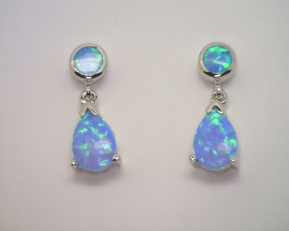 Brightt Dangle Style Blue Opal .925 Sterling Silver Earrings