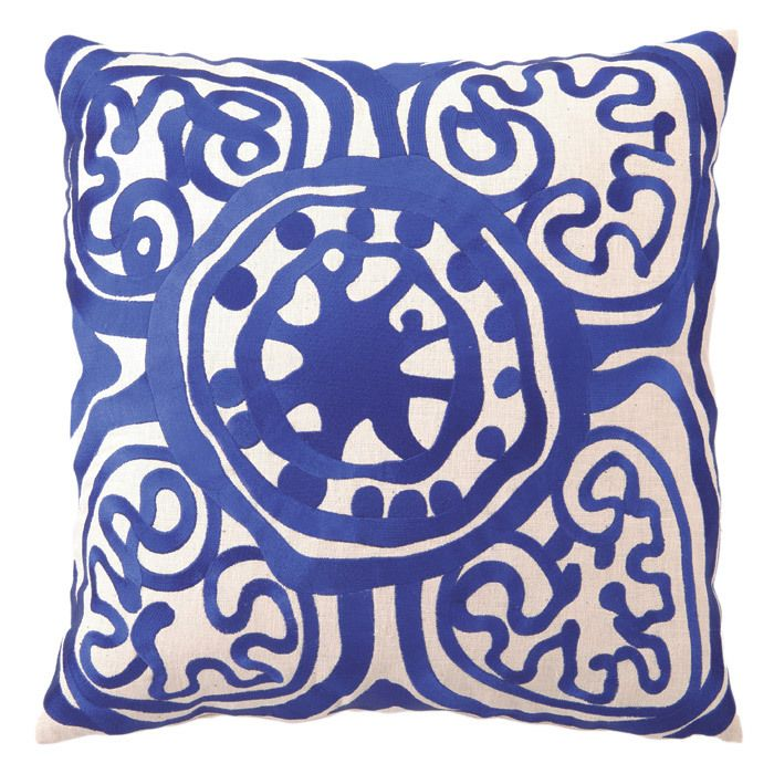 Rustic Medallion Embroidered Pillow in Lapis ~ Trina Turk