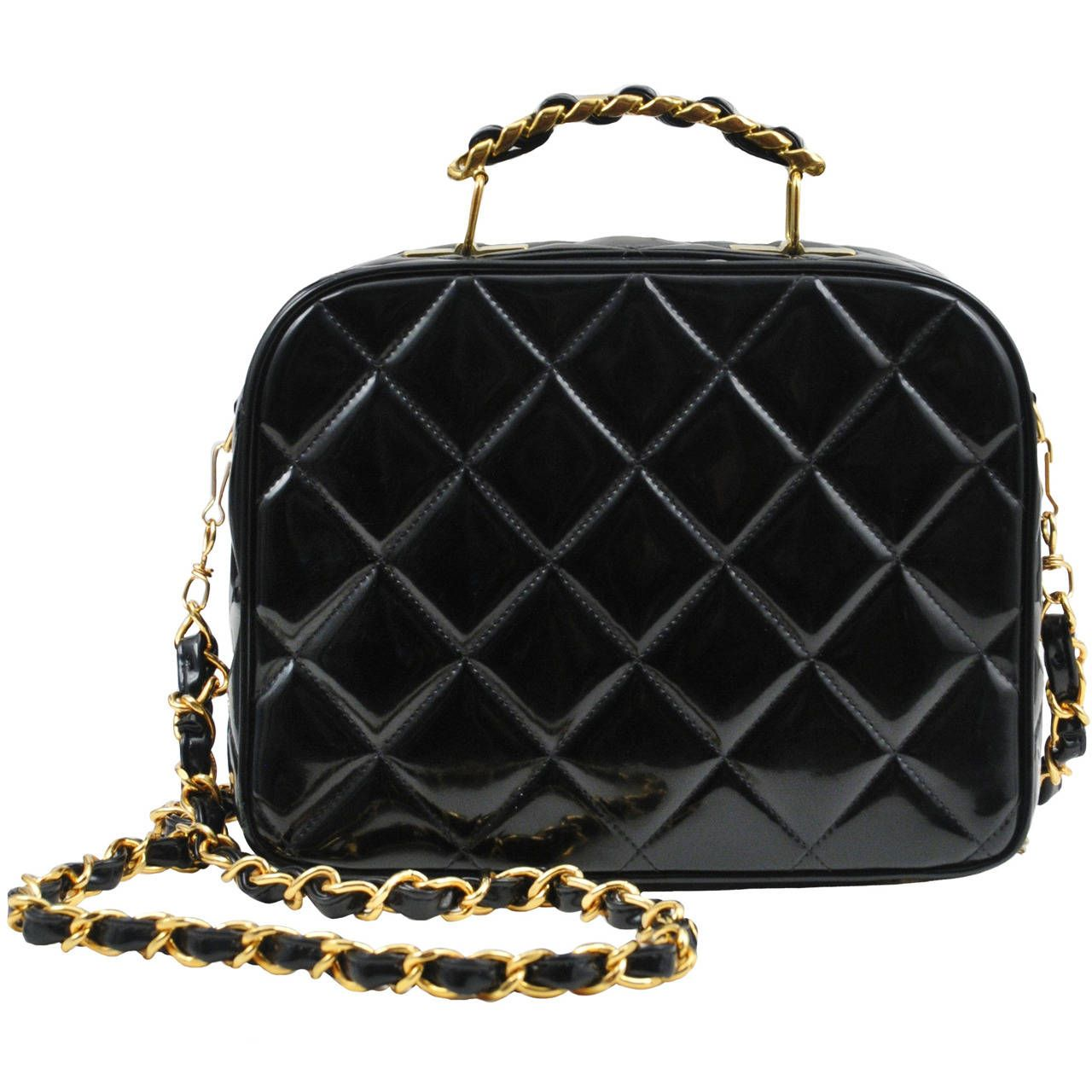 69ec697a3971 Chanel Black Patent Lunch Box Tote | From a collection of rare vintage  handbags and purses