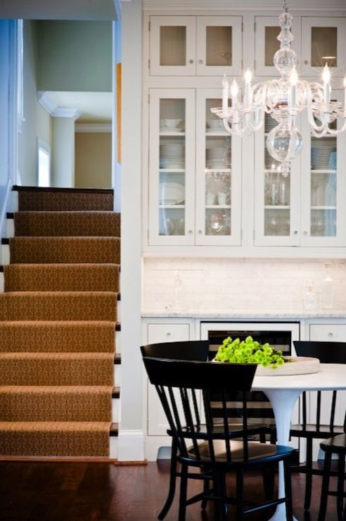 Aidan Design - kitchens - Saarinen Dining Table, Visual Comfort George II Chandelier, glossy, black, dining chairs, creamy, white, glass-fro...