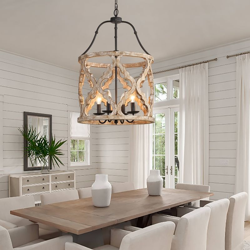 Vintage Distressed White Carved Wood 4 Light Lantern Farmhouse Chandelier In Rust Farmhouse Dining Room Lighting Dining Room Chandelier Dinning Room Lighting Cottage farmhouse dining room lights