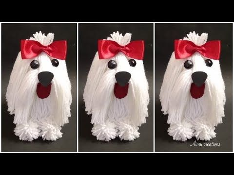 How to make wool dog from waste bottle    Aimy creations - YouTube   Art and craft videos ...