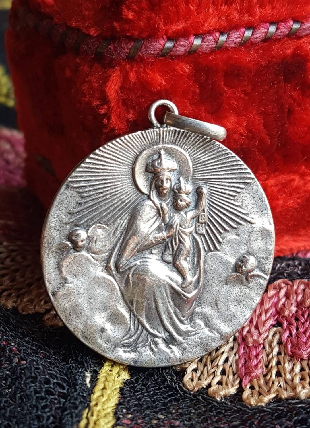 925 Sterling Silver Antiqued Finish Our Lady of Loreto Medal Charm Pendant
