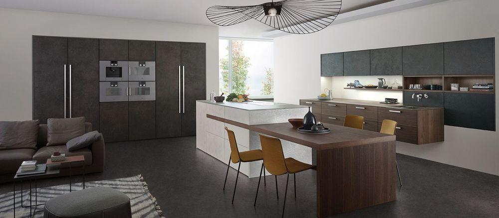 cuisine design Leicht, ouverte, avec table sur lu0027ilot central    200 - cuisine avec ilot central et table