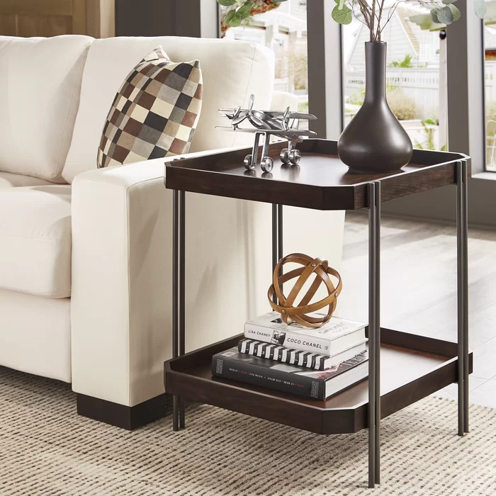 Dobson End Table With Storage In 2020 Living Room End Tables Dark Wood Furniture Living Room Farmhouse End Tables