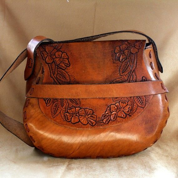 Boho Hand Tooled Leather Handbag