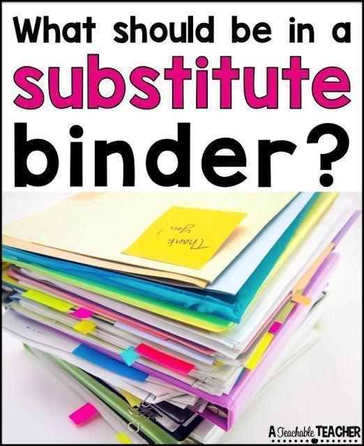All About Substitute Binders #teacherplannerfree
