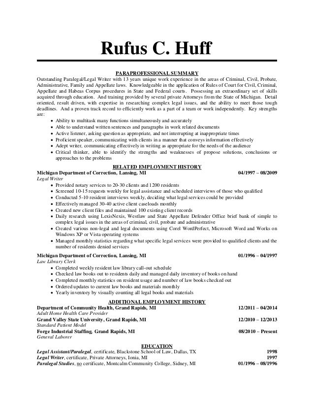 paralegal resume - Google Search The Backup Plan Pinterest - carpenter assistant sample resume
