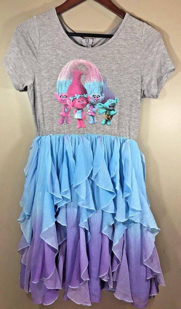 a6cac5afd0a5 Dreamworks Trolls Dress Girls XL 14 / 16 Gray Blue Purple Ruffle Short  sleeve #Dreamworks #Dress