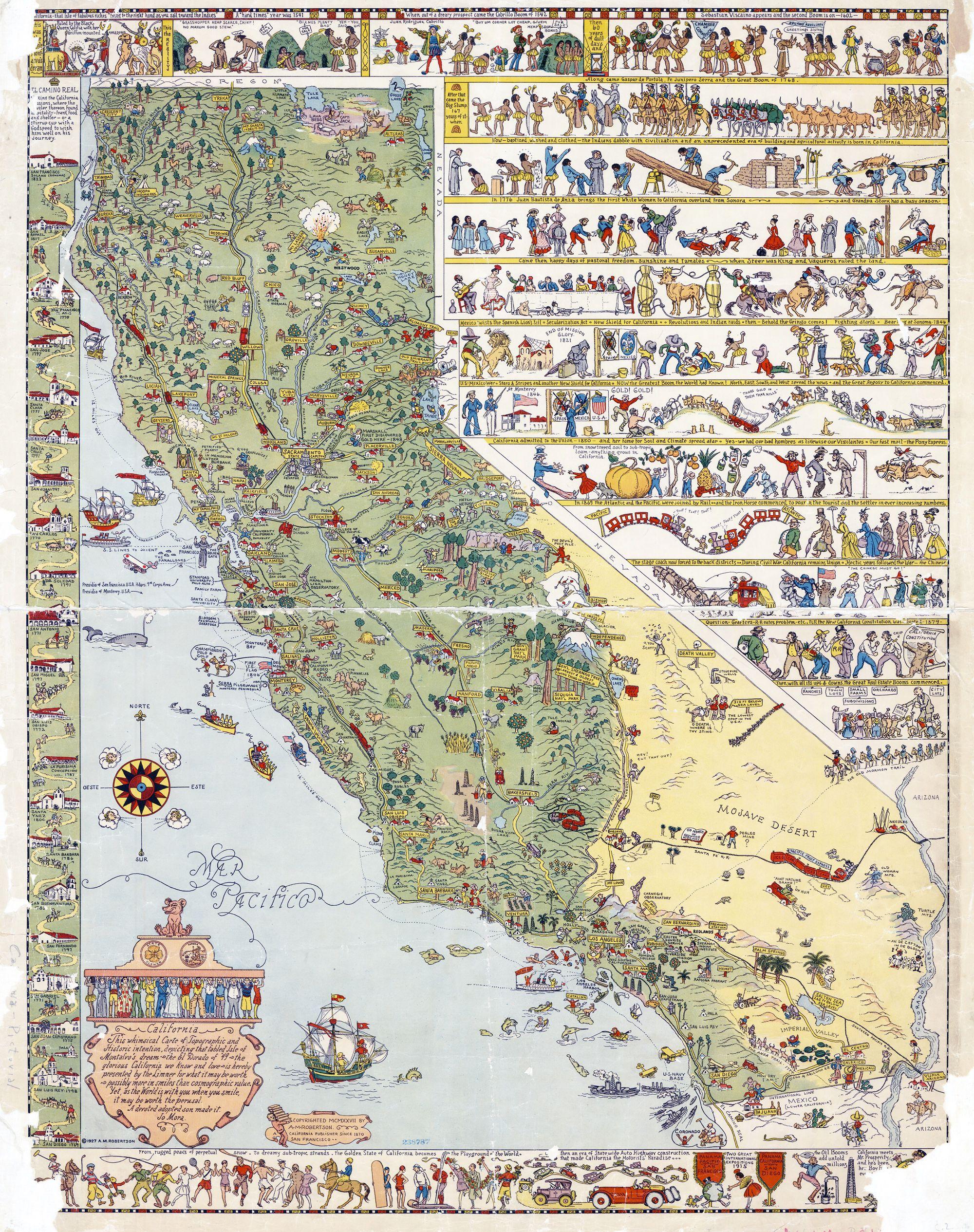 1927 illustrated tourist map of california
