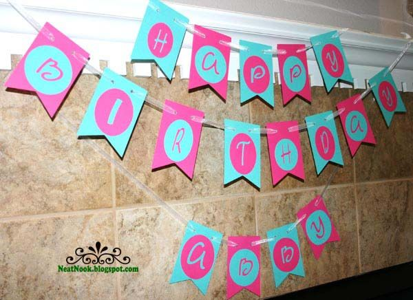 Happy Birthday Flag Banner Hot Pink  Turquoise CUSTOM Banners