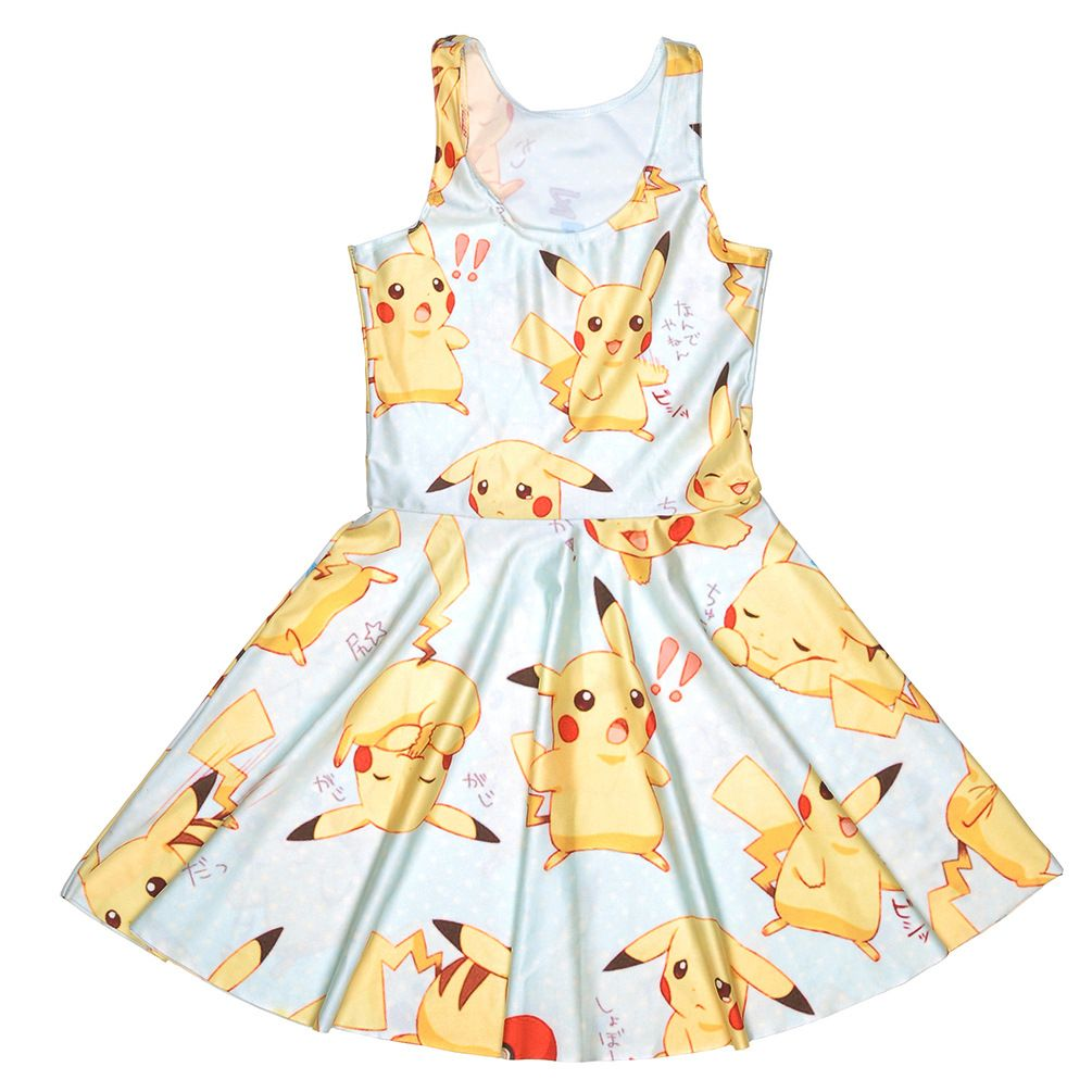 Cartoon Print Skater Dress Cute Women Summer Dress Slim Anime Character Print Cute Dresses Vestido Short Dress Big Size M1907