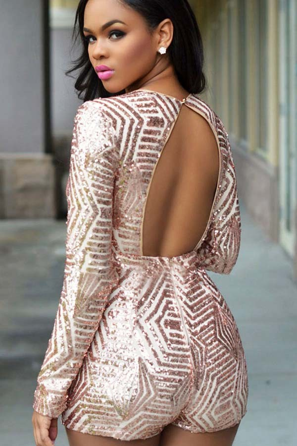 a4cea634350 Light Pink Plunging V Neck Sequin Decor Backless Romper  024962   Sexy  Rompers And Jumpsuits For Women-Strapless Jumpsuit