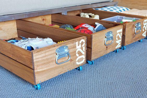 Fabriquer Un Rangement A Roulettes Diy Toy Storage Creative Toy Storage Creative Storage Solutions