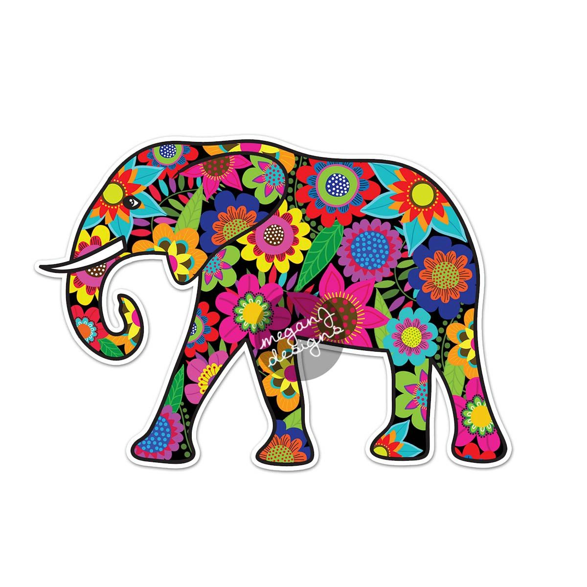 Elephant Car Decal Floral Colorful Bumper Sticker Laptop Decal Pink Green Teal Yellow Jungle Flowers Cute Ca Cute Car Decals Elephant Stickers Car Decal Hippie [ 1200 x 1200 Pixel ]
