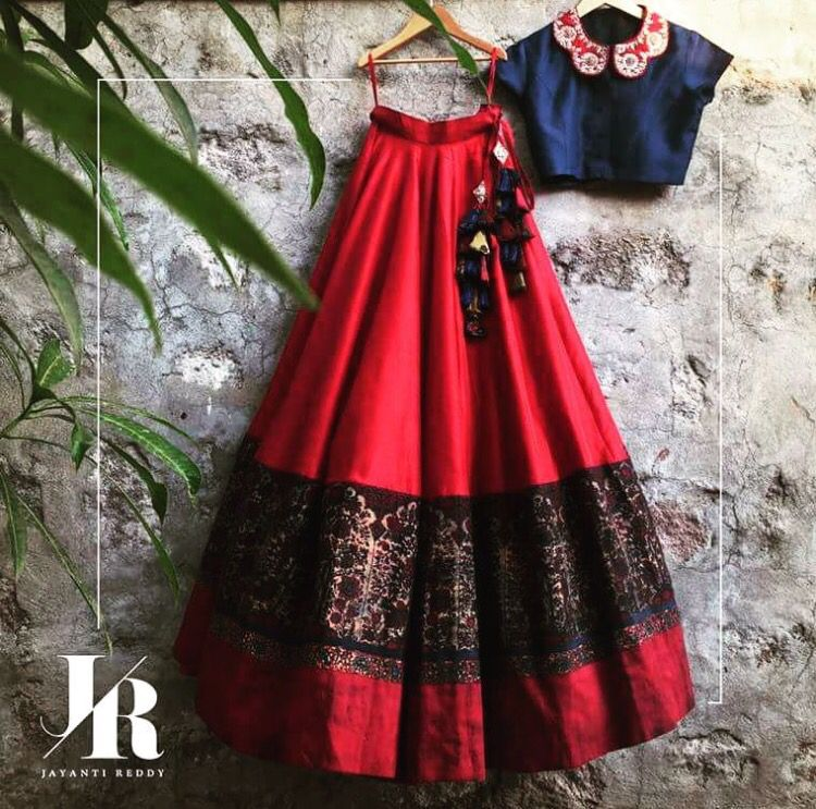 d2cdb2fe309a62 Jayanti reddy red and dark blue cropped top and lehenga. Indian fashion.