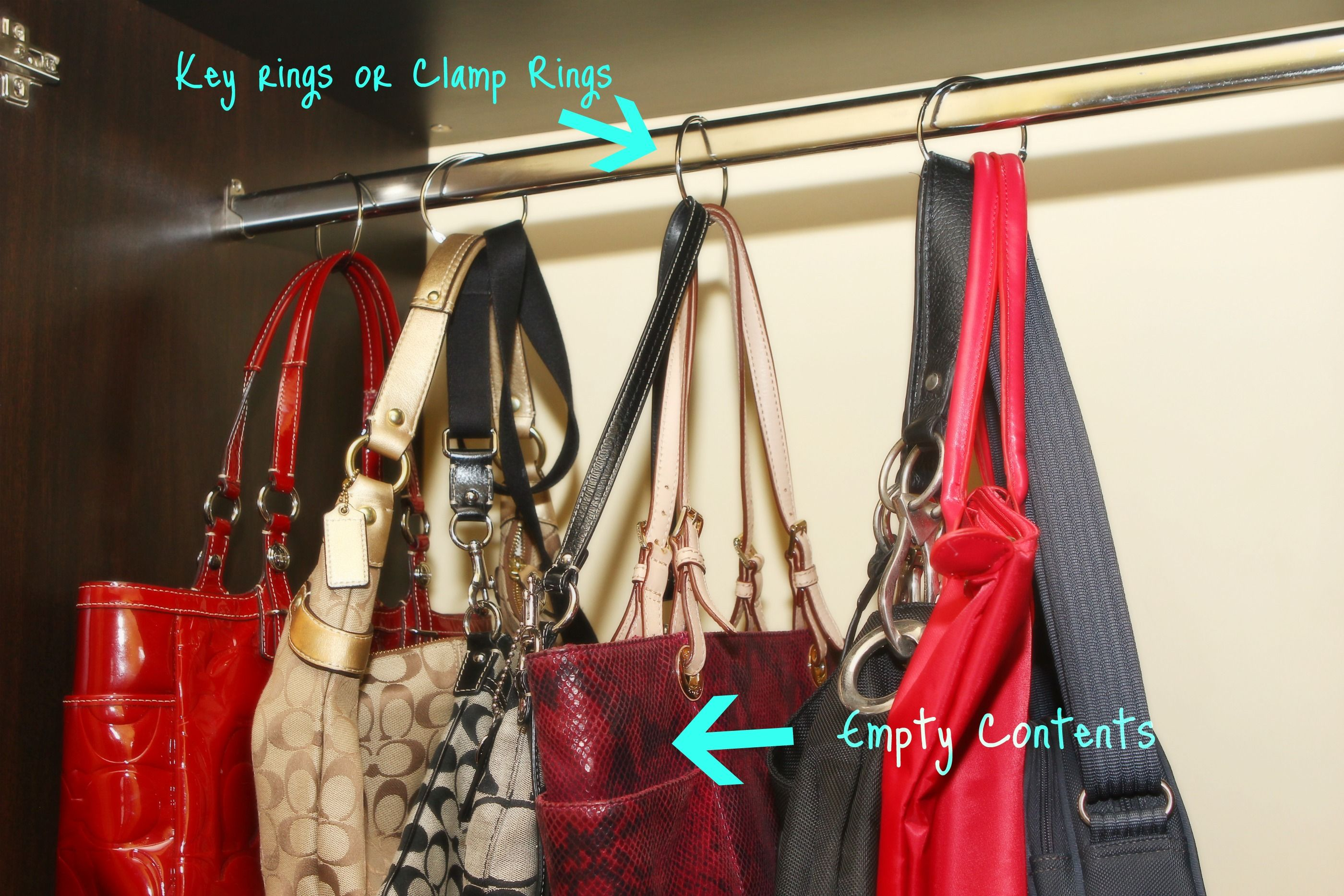 Organize Your Handbags I Would Use S Hooks Instead For Ease Of Removal Purse Organization Handbag Organization Organization