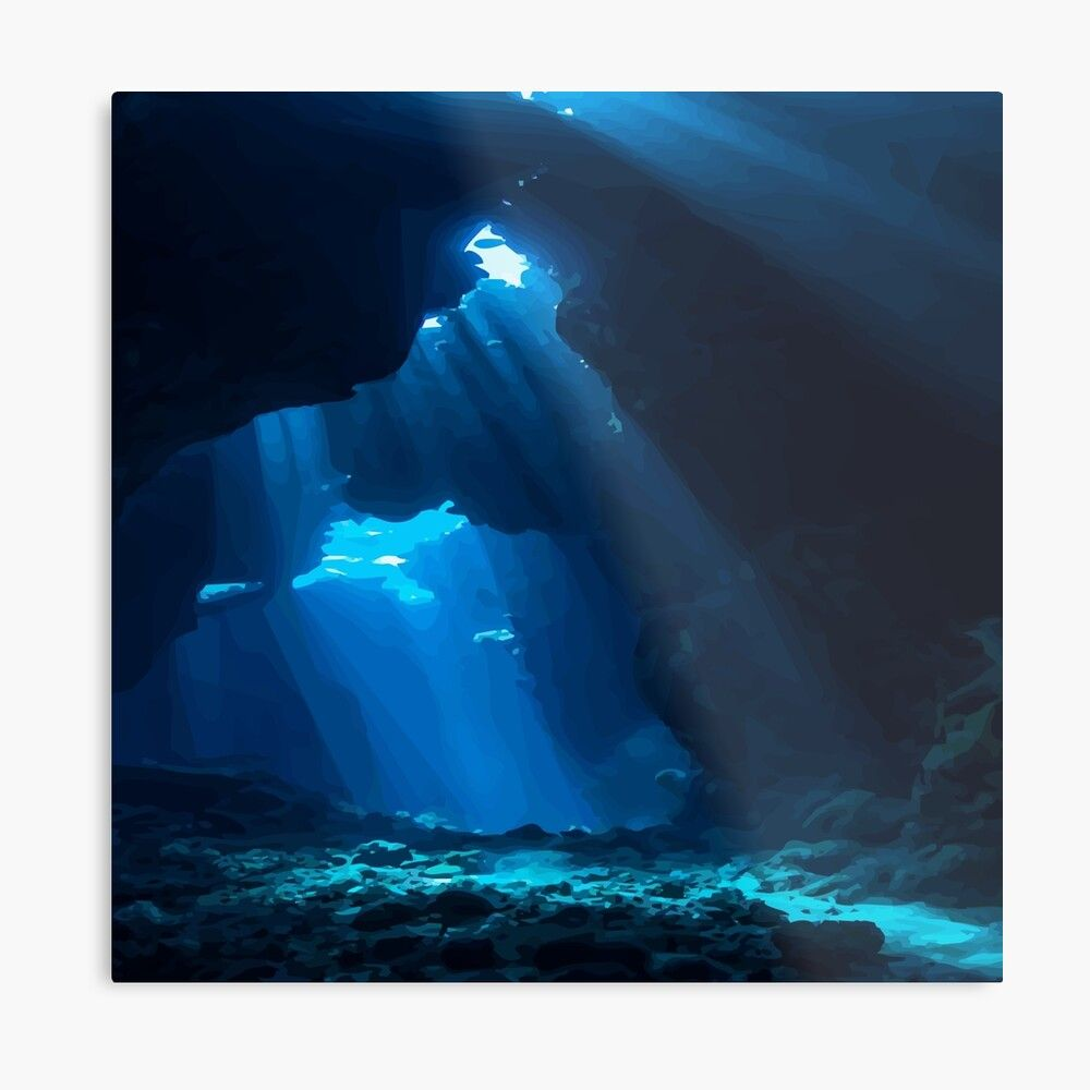 Underwater Cavescape Design Metal Print by carlarmes