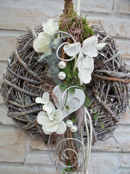 Photo of Door wreath, white-silver, lovely-extravagant by … dancing with the flowers … a …