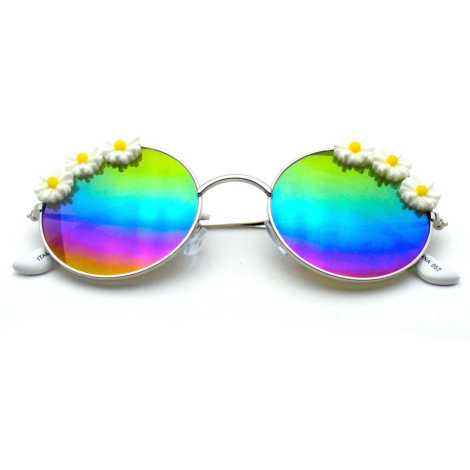 c25abf8b06a Flash Floral Retro John Lennon Inspired Sunglasses Round Hippie Shades  Colored Lenses