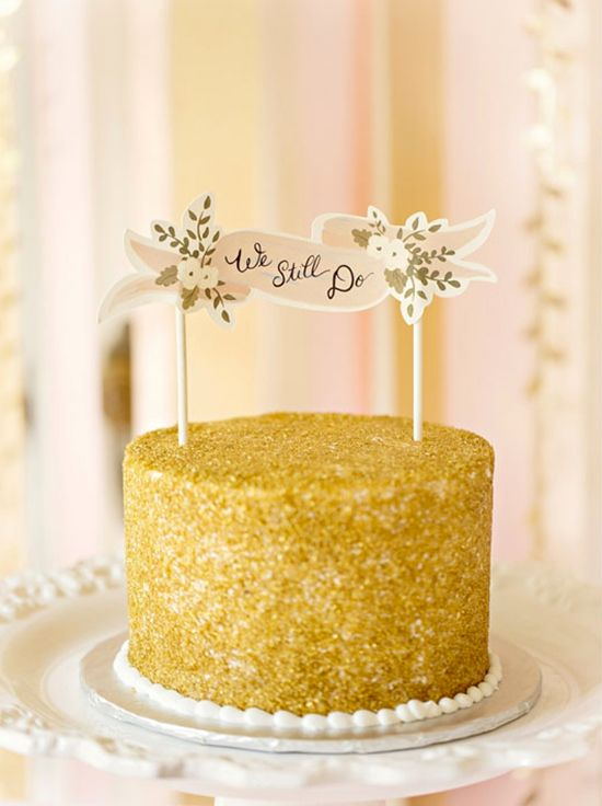 Sparkly Gold We Still Do Cake Topper With Flowers