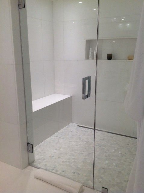 Calacatta Marble Hexagon Mosaic Shower Floor and White Marble on
