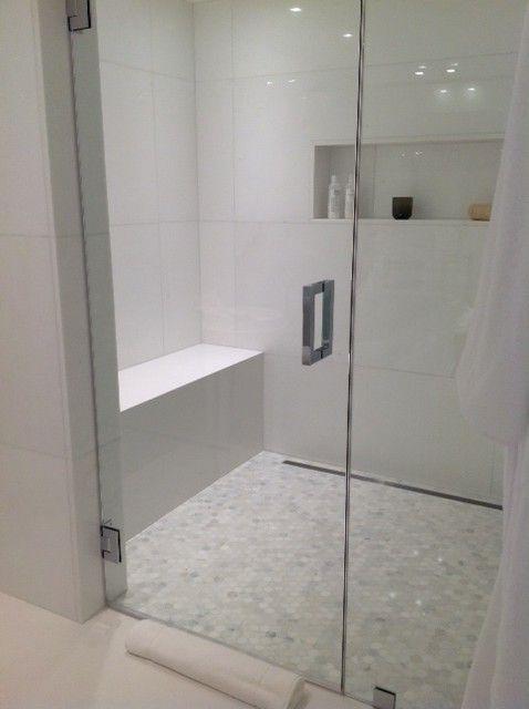 Calacatta Marble Hexagon Mosaic Shower Floor and White Marble on Bathroom Walls  Our Bathroom