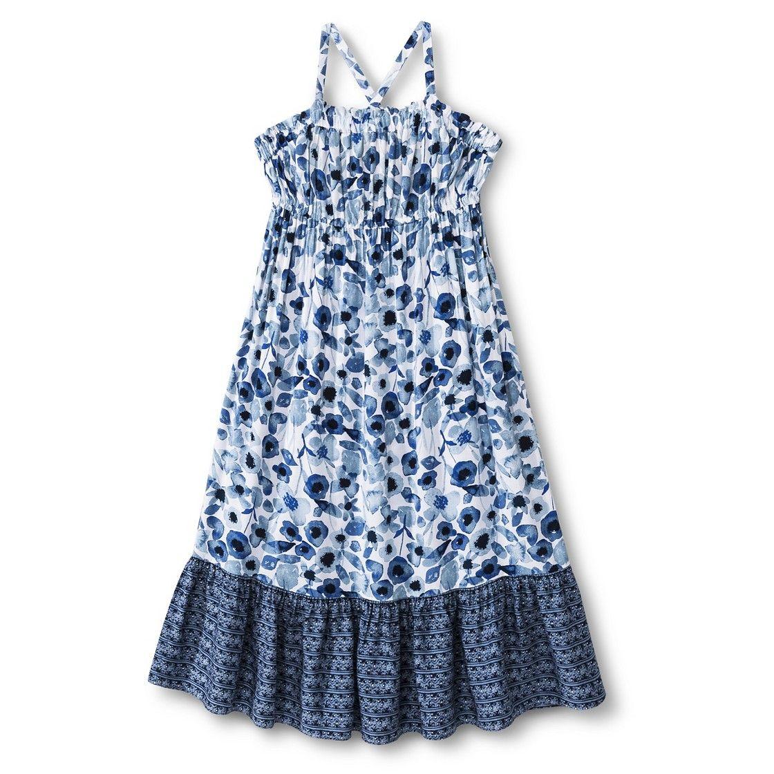Girls floral maxi dress cruise blue children clothes pinterest