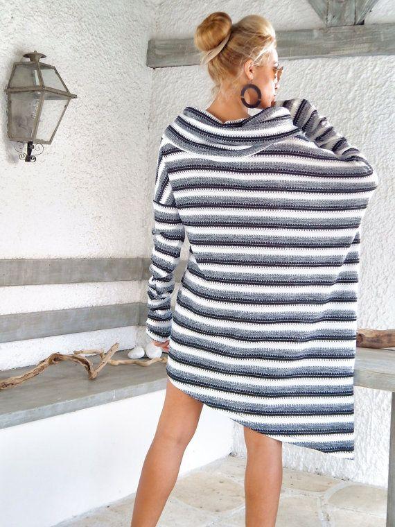 Winter Warm gebreid asymmetrische Blouse-tuniek door SynthiaCouture