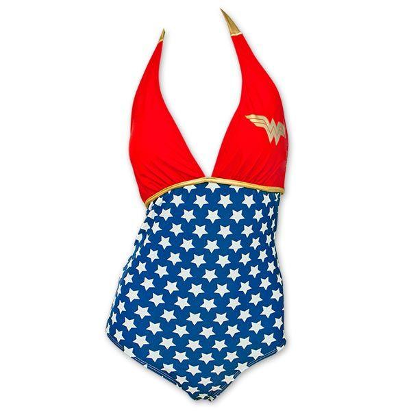 2ba82455ed2 Wonder Woman One Piece Women s Halter Plunge Bathing Suit