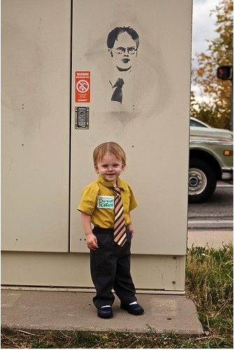This is hilarious!  29 Homemade Kids Halloween Costume Ideas | If I could keep glasses on Jr, he'd SO be Dwight! So cute!